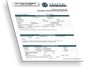 Sample traffic accident report